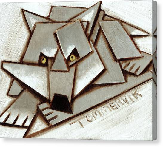 Howling Wolves Canvas Print - Tommervik Geometric Gray Wolf Painting Art Print by Tommervik