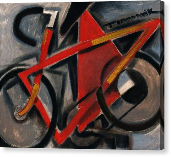 Tommervik Abstract Cubism Red Ten Speed Bike Art Print Canvas Print