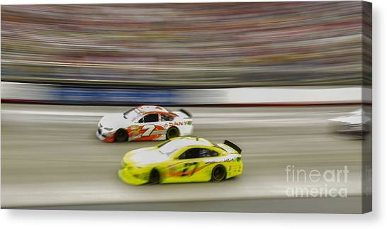 Richard Childress Canvas Print - Tommy Baldwin In Car 7 And Richard Childress In Car 27 At Bristo by David Oppenheimer