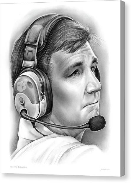 Clemson University Canvas Print - Tommy Bowden by Greg Joens
