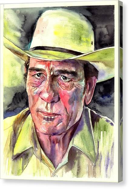 American Cowboy Canvas Print - Tommy Lee Jones Portrait Watercolor by Suzann's Art