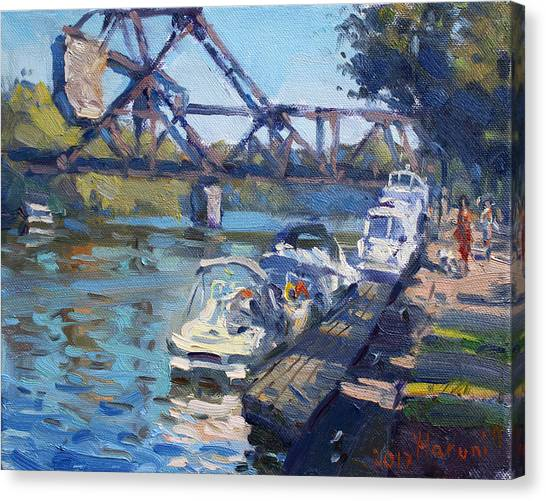 Railroads Canvas Print - Tonawanda Jack Knife Bridge by Ylli Haruni