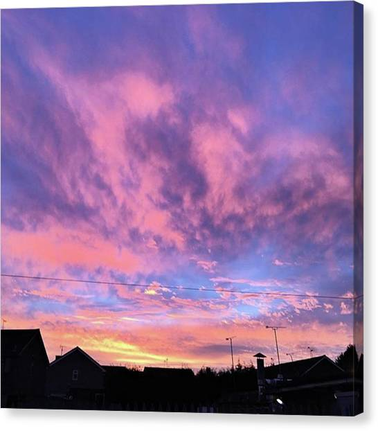 Trip Canvas Print - Tonight's Sunset Over Tesco :) #view by John Edwards