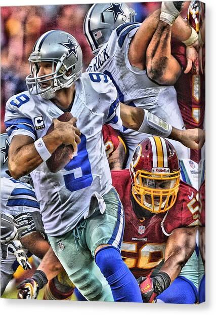 Dallas Cowboys Canvas Print - Tony Romo Dallas Cowboys Art by Joe Hamilton