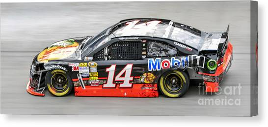 Tony Stewart Canvas Print - Tony Stewart At Bristol Motor Speedway Driving Wrecked #14 Bass  by David Oppenheimer