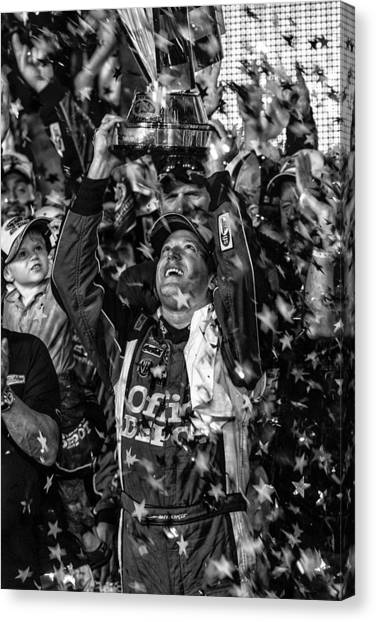 Tony Stewart Canvas Print - Tony Stewart Wins by Kevin Cable