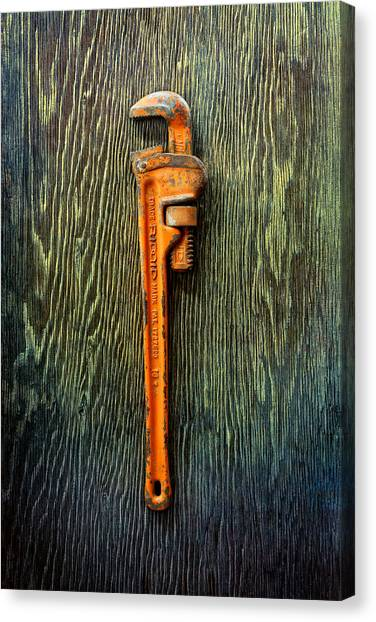Plumber Canvas Print - Tools On Wood 60 by YoPedro