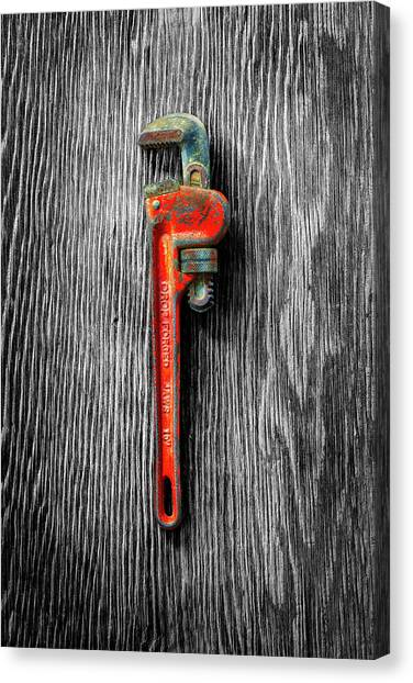 Plumber Canvas Print - Tools On Wood 62 On Bw by YoPedro