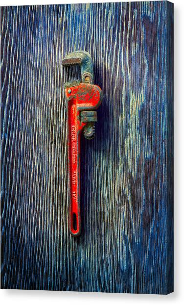 Plumber Canvas Print - Tools On Wood 62 by YoPedro
