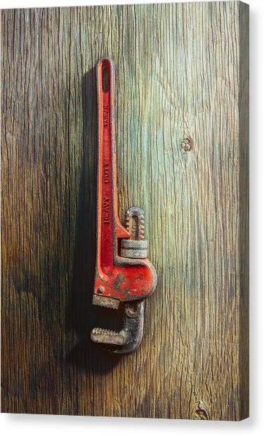 Plumber Canvas Print - Tools On Wood 70 by YoPedro