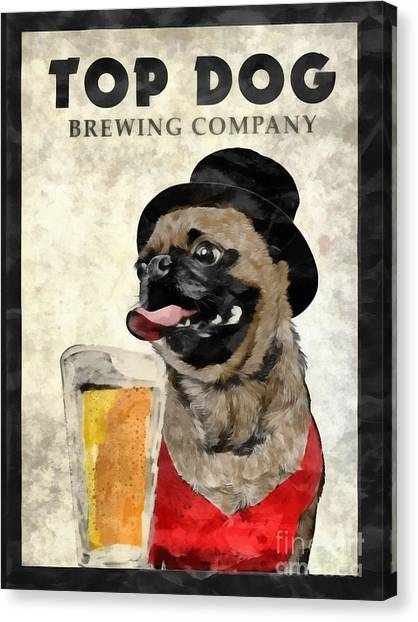 Pint Glass Canvas Print - Top Dog Brewing Company by Edward Fielding