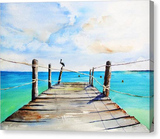 Top Of Old Pier On Playa Paraiso Canvas Print