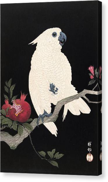 Cockatoos Canvas Print - Top Quality Art - Parrot And Pomegranate by Ohara Koson
