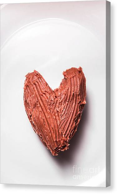 Cutout Canvas Print - Top View Of Heart Shaped Chocolate Fudge by Jorgo Photography - Wall Art Gallery