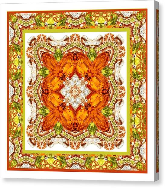 Topaz And Peridot Bling Kaleidoscope Canvas Print