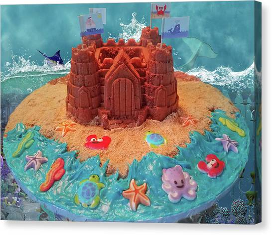 Sand Castles Canvas Print - Topsail Island Castle Cake by Betsy Knapp