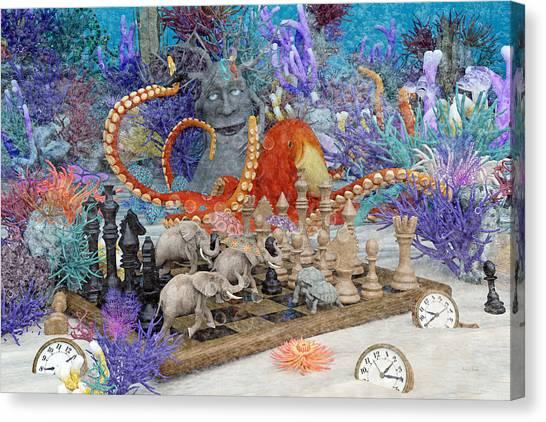 Happy Elephant Canvas Print - Topsail Island Under The Sea by Betsy Knapp