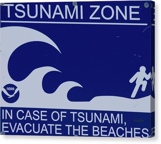 Tsunamis Canvas Print - Topsail Island's Tsunami Zone Sign by Betsy Knapp