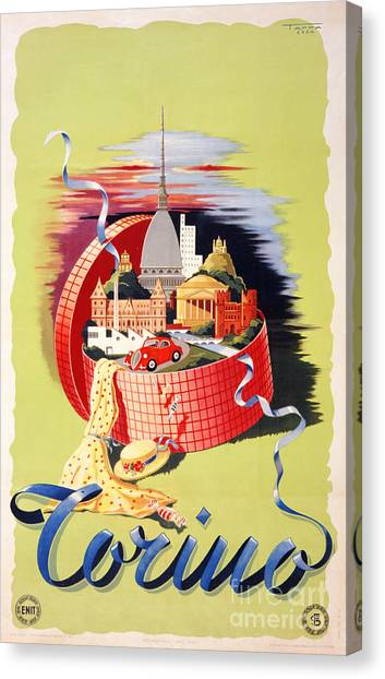 Torino Turin Italy Vintage Travel Poster Restored Canvas Print
