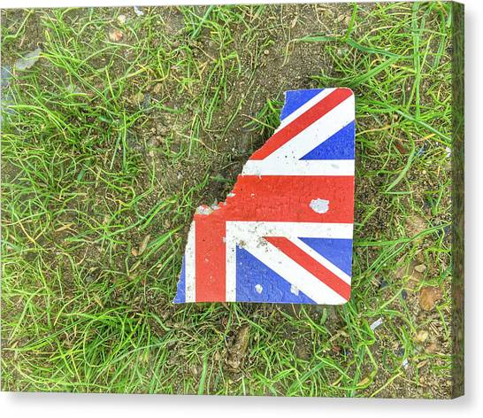 Brexit Canvas Print - Torn Card On Grass by Tom Gowanlock