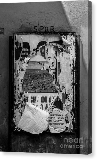 Spqr canvas print torn posters rome italy by edward fielding