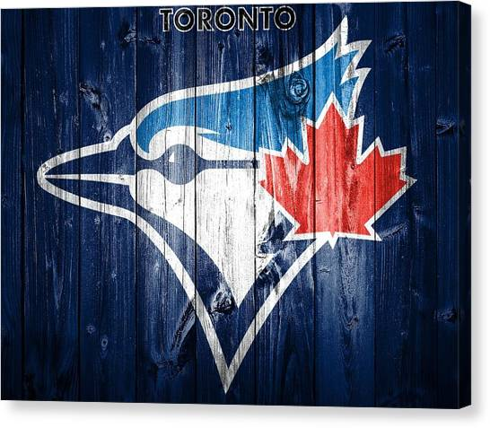 Baseball Players Canvas Print - Toronto Blue Jays Barn Door by Dan Sproul