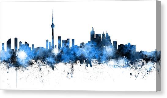 Toronto Skyline Canvas Print - Toronto Canada Skyline Panoramic by Michael Tompsett