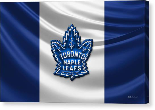 Ice Caves Canvas Print - Toronto Maple Leafs - 3d Badge Over Flag by Serge Averbukh