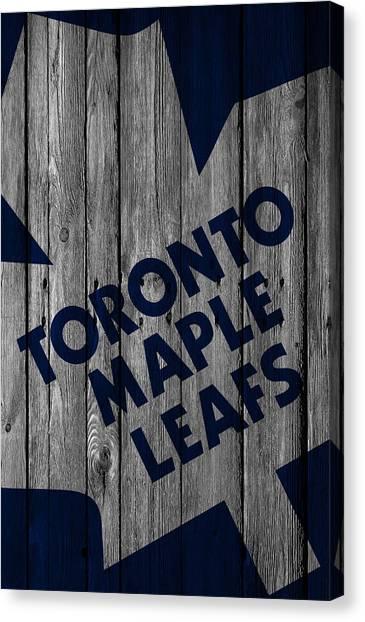 Skating Canvas Print - Toronto Maple Leafs Wood Fence by Joe Hamilton