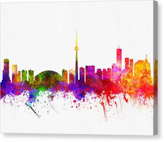 Toronto Skyline Canvas Print - Toronto Ontario Skyline Color02 by Aged Pixel