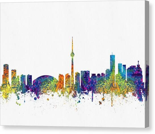 Toronto Skyline Canvas Print - Toronto Ontario Skyline Color03 by Aged Pixel