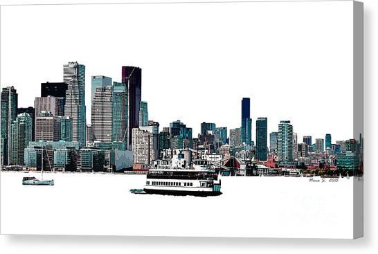 Toronto Fc Canvas Print - Toronto Portlands Skyline With Island Ferry by Nina Silver