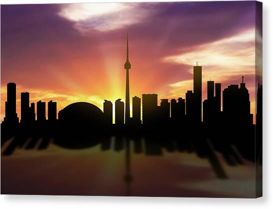 Toronto Skyline Canvas Print - Toronto Skyline Sunset Caonto22 by Aged Pixel