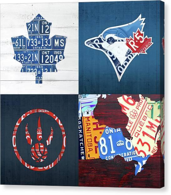 Toronto Raptors Canvas Print - Toronto Sports Team License Plate Art Ontario Map Blue Jays Maple Leafs Raptors by Design Turnpike