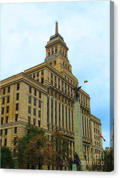 Toronto Fc Canvas Print - Toronto's Canada Life Building by Nina Silver