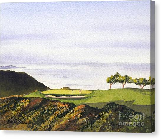 Tiger Woods Canvas Print - Torrey Pines South Golf Course by Bill Holkham