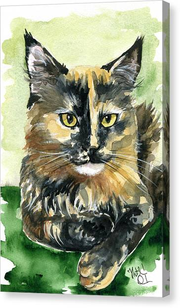 Main Coons Canvas Print - Tortoiseshell Maine Coon Portrait by Dora Hathazi Mendes