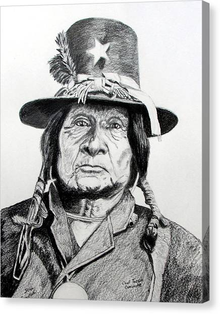 Tosawi Comanche Chief Canvas Print by Stan Hamilton