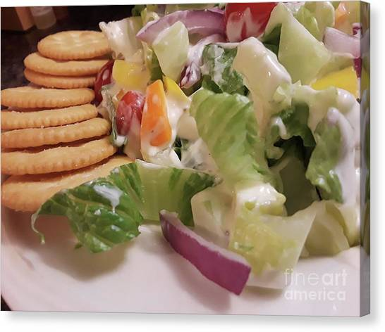 Salad Dressing Canvas Print - Tossed Salad With Ritz Crackers 2 by Maxine Billings