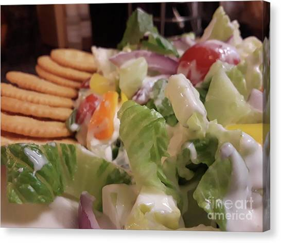 Salad Dressing Canvas Print - Tossed Salad With Ritz Crackers by Maxine Billings