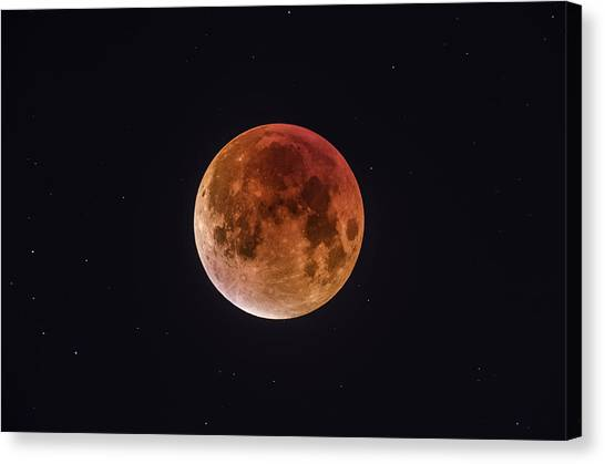 Moon Canvas Print - Total Eclipse Of The Moon by Bartosz Wojczynski