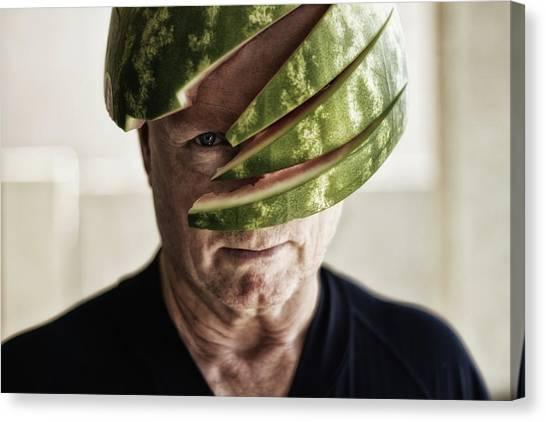 6a09d059ae3 Melon Fruit Canvas Print - Total Melon Head by Randy Turnbow
