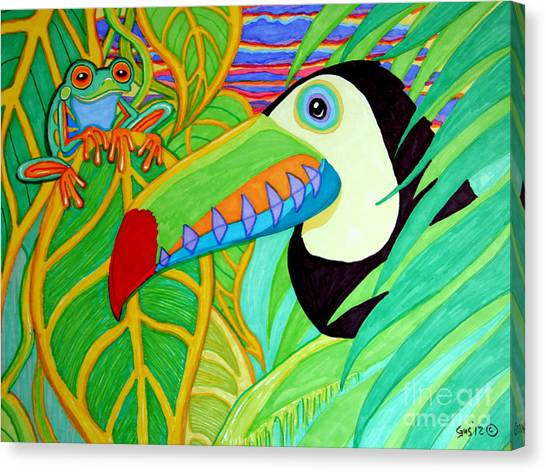 Rain frogs canvas print toucan and red eyed tree frog by nick gustafson
