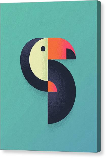 Toucans Canvas Print - Toucan Geometric Airbrush Effect by Ivan Krpan