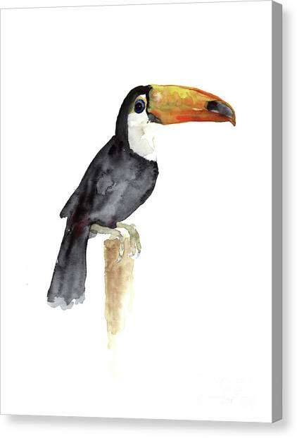 Toucans Canvas Print - Toucan Watercolor Painting Tropical Bird Kids Playroom Art Prin by Joanna Szmerdt