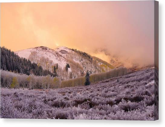 Wasatch Mountains Canvas Print - Touch Of Winter by Chad Dutson