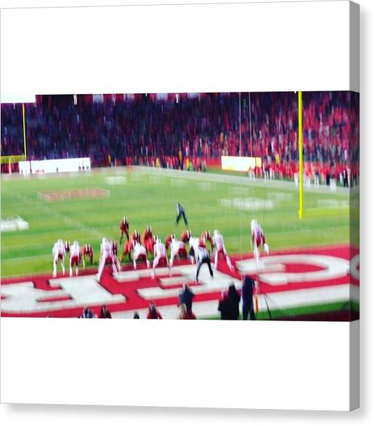 Football Players Canvas Print - Touchdown For Rutgers! Messy But by Saket Hegde