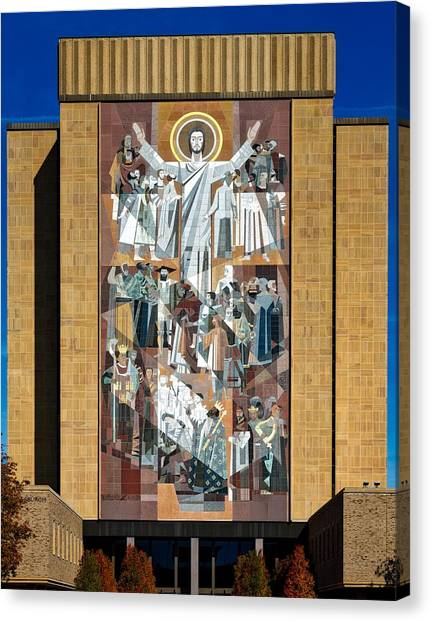 Notre Dame University Canvas Print - Touchdown Jesus - Hesburgh Library by Mountain Dreams