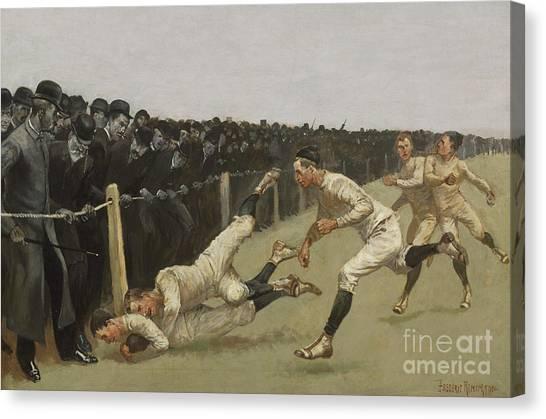 Yale University Canvas Print - Touchdown, Yale Vs. Princeton, Thanksgiving Day, Nov 27th 1890 by Frederic Remington