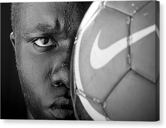 Soccer Canvas Print - Tough Like A Nike Ball by Val Black Russian Tourchin